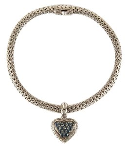 John Hardy Silver Classic Braided Chain With Blue Sapphire Heart Charm