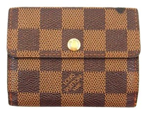 Louis Vuitton Damier Ebene Canvas Leather Port Monnaie Plat Coin Purse Wallet