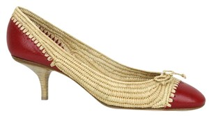 Bottega Veneta Straw Leather 338296 Multi-Color Pumps