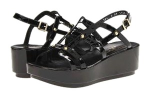 Robert Clergerie Studded Patent Leather Black Sandals