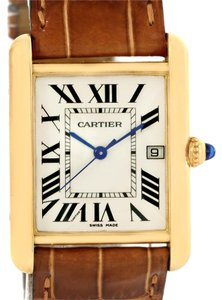 Cartier Cartier Tank Louis 18k Yellow Gold Brown Strap Date Watch W1529756