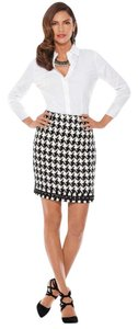 Boston Proper Chain Trim Mini Skirt black & white