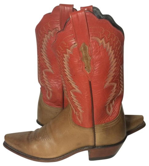 Preload https://item5.tradesy.com/images/lucchese-red-and-brown-leather-cowgirl-women-s-bootsbooties-size-us-8-regular-m-b-19092319-0-1.jpg?width=440&height=440