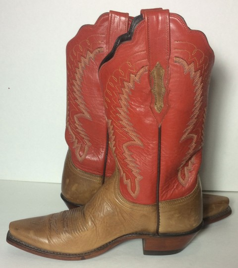 Lucchese Cowgirl 8 Western 8 Size 8 Red & Brown Boots