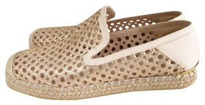 Stuart Weitzman Espadrille Glitter Gold Round Toe Leather Gold cream Flats