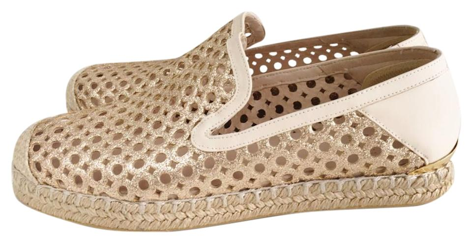 a5ff11bbb3b0 Stuart Weitzman Espadrille Glitter Round Toe Leather Gold cream Flats Image  0 ...