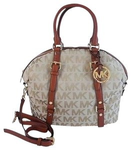Michael Kors Signature Ball Gown Satchel in Beige Luggage