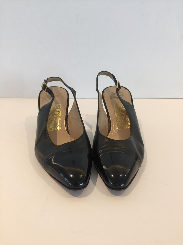 salvatore ferragamo leather slingback black pumps pumps on sale. Black Bedroom Furniture Sets. Home Design Ideas