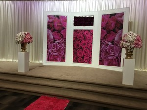 Color Popping Wedding Background With Slot For Fresh Flowers