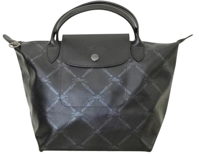 Item - *ships Next Dsy* Black and Silver Metallic Grid Equestrian with Leather Satchel