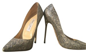 Jimmy Choo Anouk Silver Heels Pumps