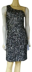 Adrianna Papell One Shoulder Sequin Silk Dress