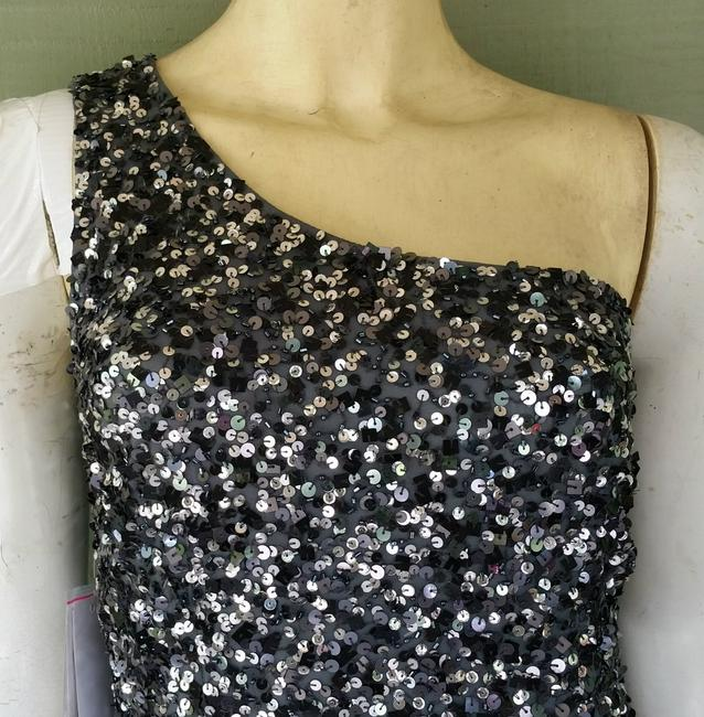 Adrianna Papell One Shoulder Sequin Silk Silver Dress