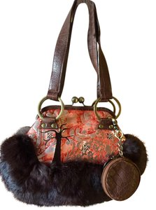 BABEE D Satchel in Multi Orange/Silver/Brown Distressed Leather