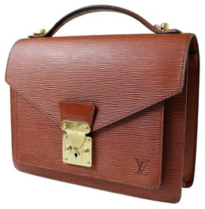 Louis Vuitton Monceau Hand Epi Leather Brown Key Satchel in Cannelle