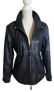 Armani Collezioni Navy Blue Leather Jacket