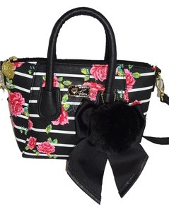 Betsey Johnson Small Striped Satchel in BLACK/BONE STRIPE/ROSE PRINT