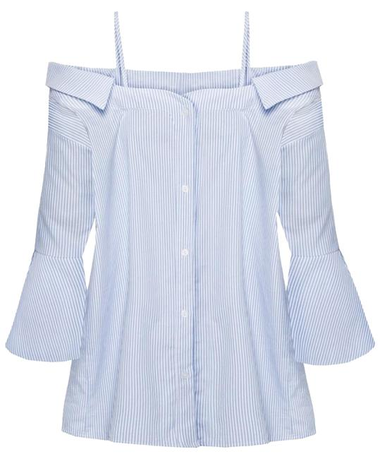 Preload https://img-static.tradesy.com/item/19094449/pixie-market-white-blue-strappy-off-the-shoulder-stripe-cotton-shirt-blouse-size-4-s-0-1-650-650.jpg
