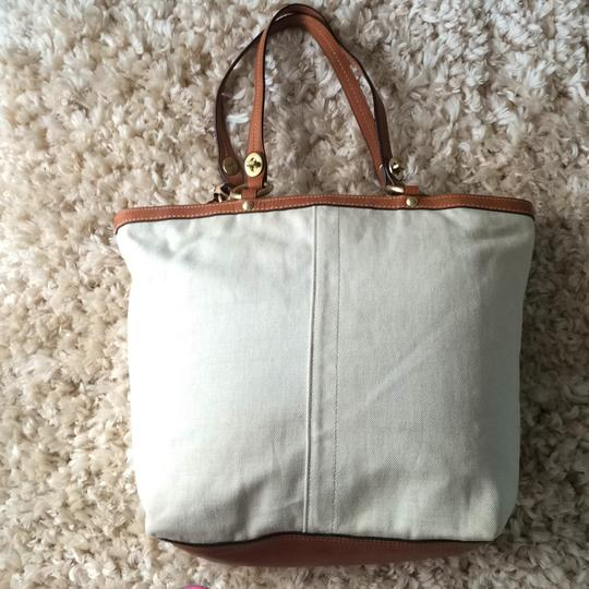 Coach Khaki/coral Beach Bag