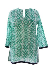 Roberta Roller Rabbit Womens Rrr_shirt_74868_kurtawborder_emerald_xl Tunic