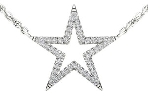 Elizabeth Jewelry 10Kt White Gold Diamond Star Pendant