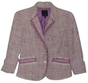 The Limited Fringe Jacket Cotton Pink and White Blazer