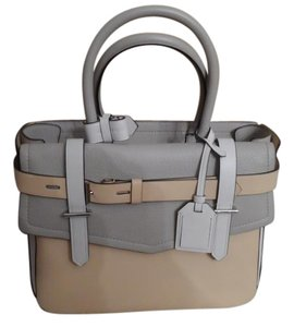 Reed Krakoff Leather New Tote in White / Tan/ Gray