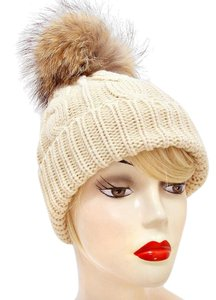 Modern Edge Genuine Raccoon Fur Pom Pom Beanie Hat