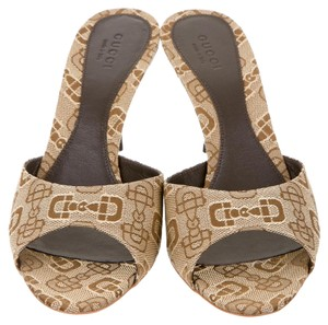 Gucci Gg Monogram Canvas Horsebit Beige, Brown Sandals