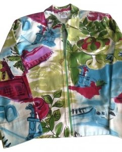 St. John White Base with Fushia, Olive Green, Light Blue. Womens Jean Jacket
