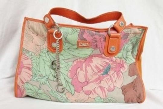 Dolce&Gabbana Leather Classic New Tote in floral print, orange, multicolor