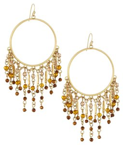 Lydell NYC NEW Beaded Tassel Hoop Earrings, Gold