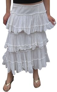 MARRIKA NAKK Layered Ruffle Cowgirl Skirt White