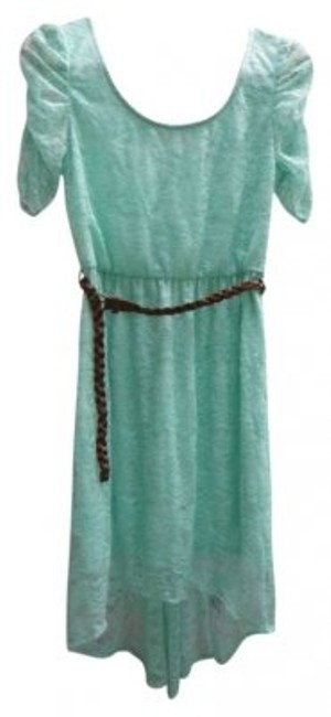 Item - Mint Green Lace Leather Summer Knee Length Short Casual Dress Size 4 (S)