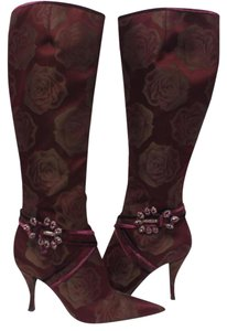 Sergio Rossi Chanel Louis Monogram Rockstud Knee Red Boots