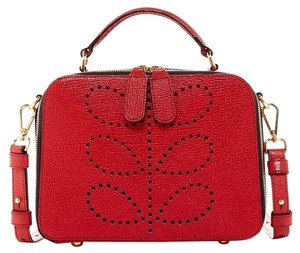 Orla Kiely Preforated Leaf Satchel in Red