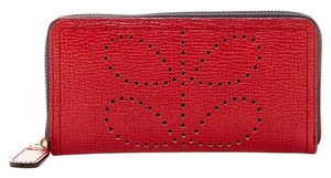 Orla Kiely NEW Big Leather Zip Around Wallet, Perforated Leaf Stem, Red