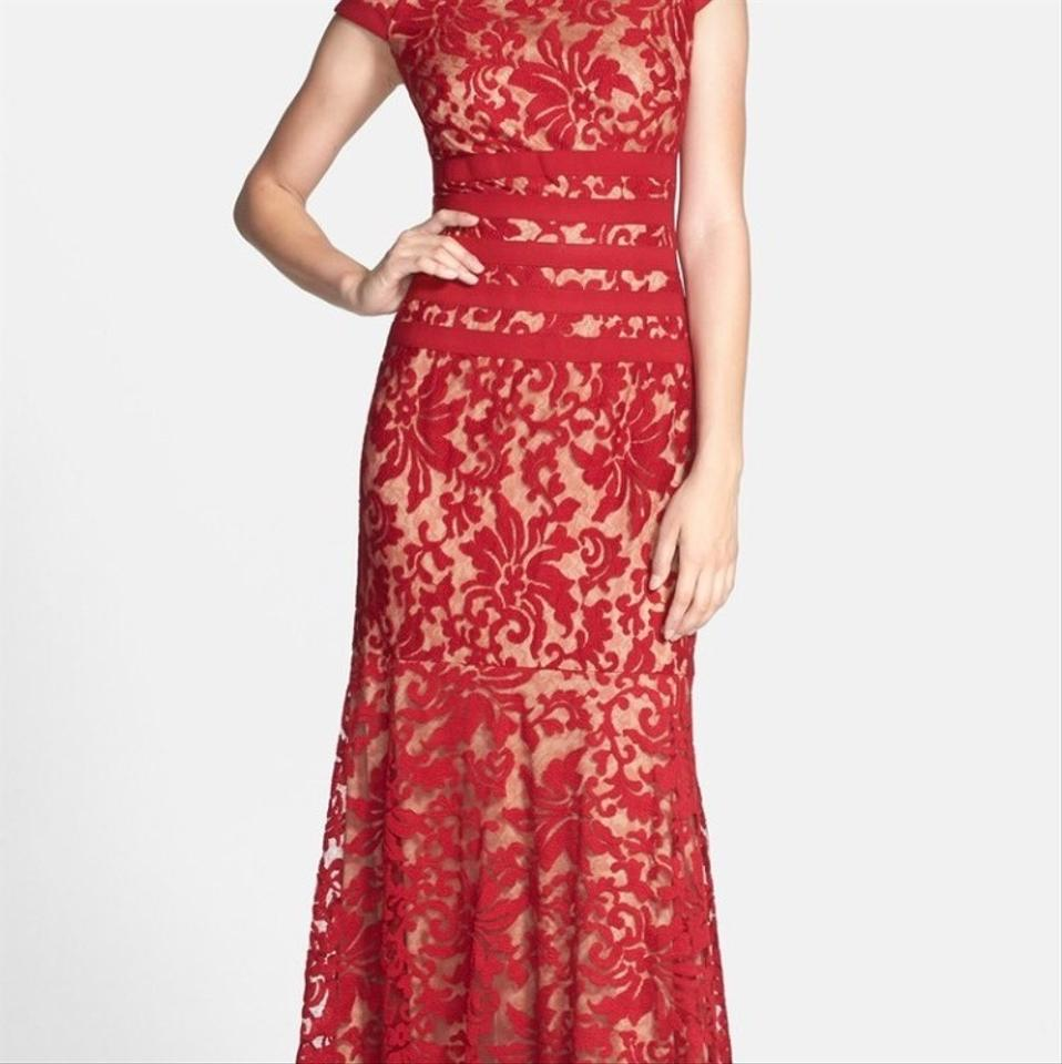 d8b29f6ecfe Tadashi Shoji Red Lace Traditional Bridesmaid Mob Dress Size 12 (L ...