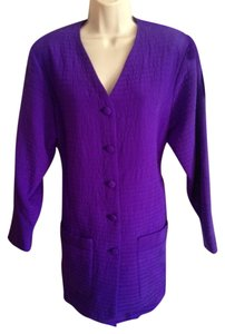 Diane von Furstenberg Silk Quilted Oversized Purple Jacket