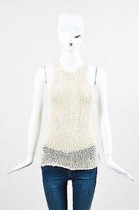 Vince Crochet Knit Top Cream