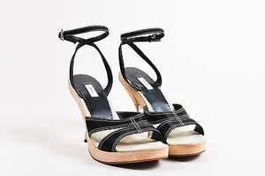 Prada Leather Wooden Black Sandals