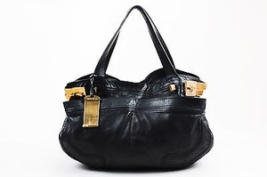 Jimmy Choo Leather Gold Metal Elsa Tote in Black