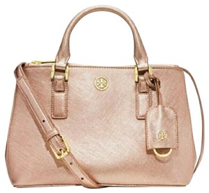 Tory Burch Robinson Tote in Rose Gold Shimmer Pink