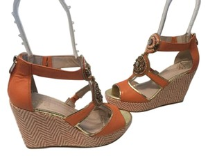 Vince Camuto Orange leather t and ankle strap jeweled Wedges