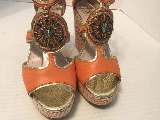 Vince Camuto Make an offer Orange leather t and ankle strap jeweled Wedges