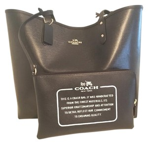 Coach Leather Water-repellant Tote in Black/white