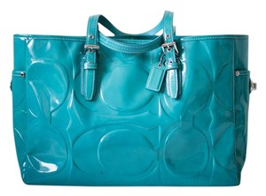 Coach Patent Leather Leather Tote in Teal