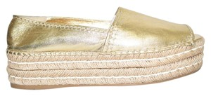 Prada Espadrille Elevated Open Toe Gold Platforms