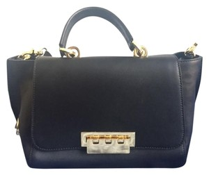 Zac Posen Leather Gold Hardware Classic Satchel in Black