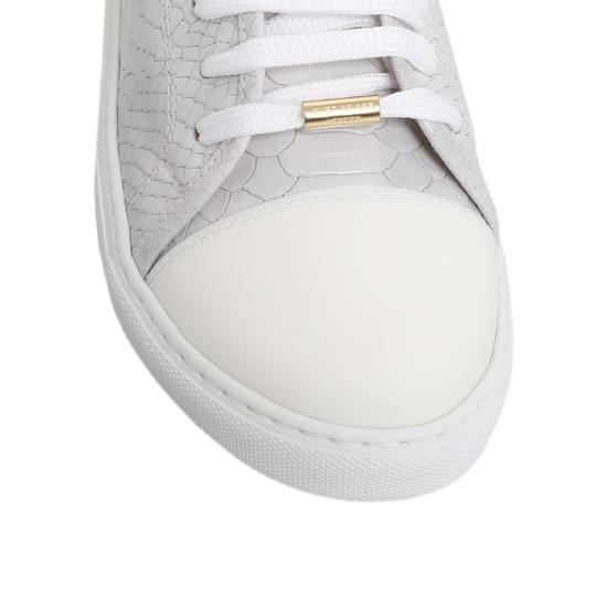 Kurt Geiger London Leather Snakeskin Sporty Party Animal Print White/Gray Flats